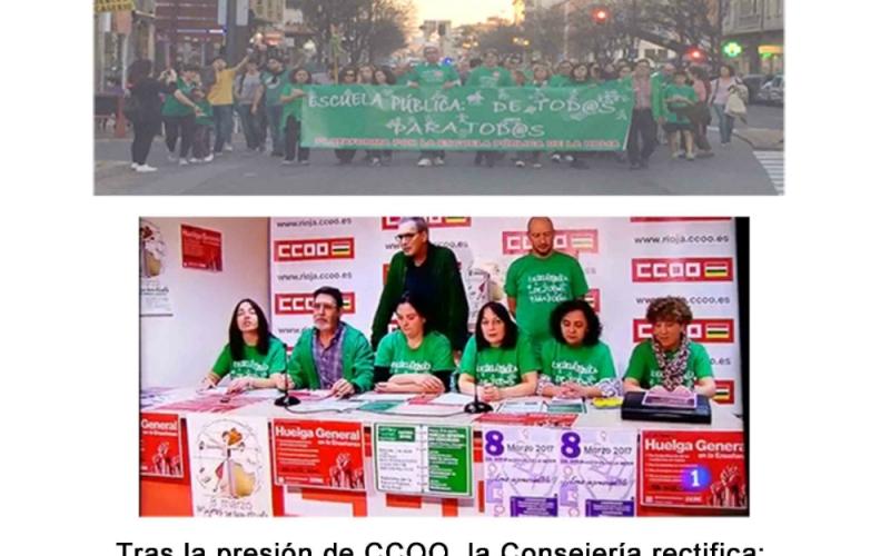 CCOO agradece el apoyo de los que secundaron la huelga educativa