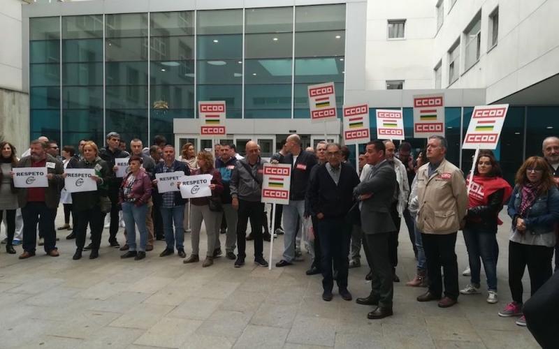 Concentración en repulsa de la agresión a un vigilante del Hospital San Pedro