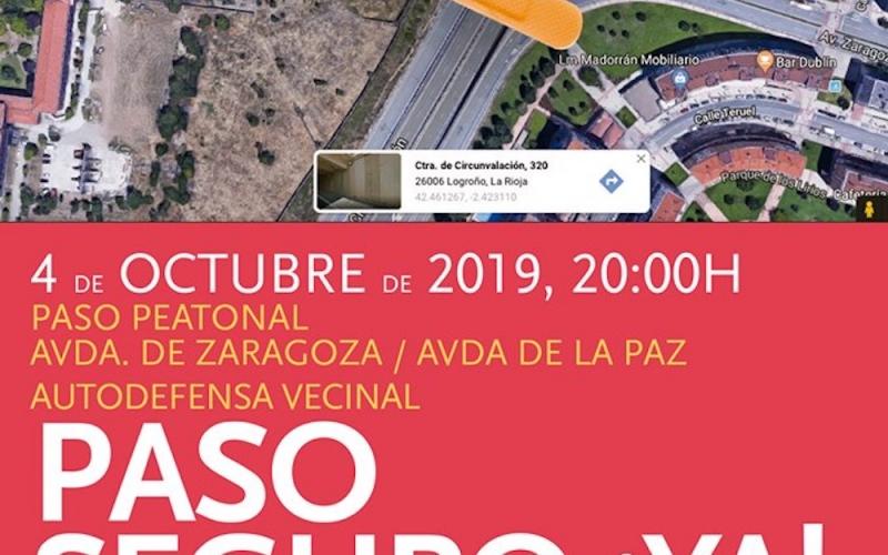 CCOO de La Rioja se concentra junto al barrio de Los Lirios para pedir un paso seguro a la ciudad y desde la ciudad