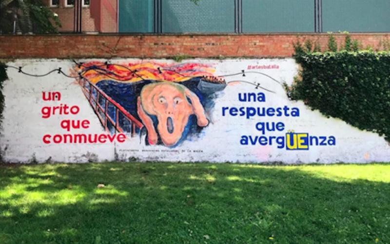El IES Batalla de Clavijo pinta un mural por las Personas Refugiadas